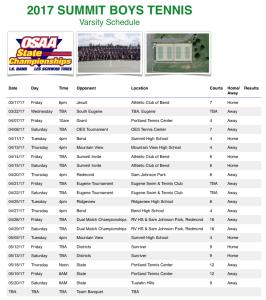 2017 Tennis Schedule